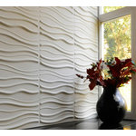 """WallArt - 3D Wall Panels, Sands, Set of 12 - Textured Wall Coverings that will transform your interior walls with depth and create an amazing looking feature wall. The wall panels are made of natural plant fiber and are flexible, lightweight, paintable and easy to install. All our wall panels are sold in the natural off white color and therefore are paintable. Size is 19.68""""x19.68"""", 12 panels / box. Give your focal wall the Wow factor with our 3D wall panels."""