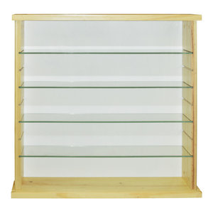 Exhibit Solid Wood 4-Shelf Glass Display Cabinet, Natural Pine