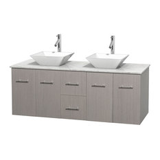 "Centra 60"" Gray Oak Double Vanity, Carrera Marble Top, Pyra White Porcelain"