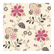 Amelie Pink Modern Floral Trail Wallpaper Bolt