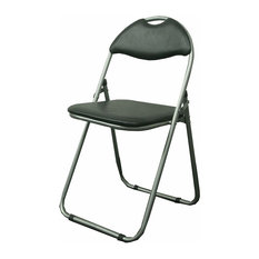 Modern Foldable Dining Chair, Steel Metal Construction With Padded Seat