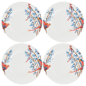 Bamboo and Singing Birds Side Plates, Set of 4