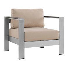 Shore Outdoor Aluminum Armchair, Silver Beige