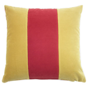Striped and Plain Cushion, Ochre and Red