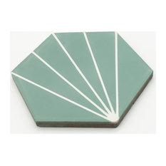 """8""""x9"""" Menara Handmade Cement Tiles, Set of 12, Green, White"""
