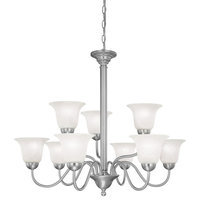 Riva 9-Light 2-Tier Chandelier, Brushed Nickel, Etched Alabaster Glass