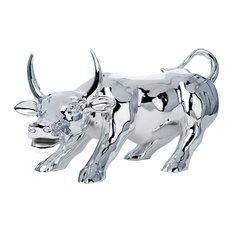 Chrome Bull- Resin Sculpture