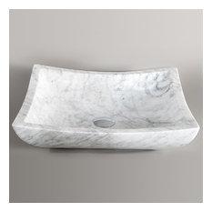 Stone Vanity Bathroom Sink, White Carrera Marble