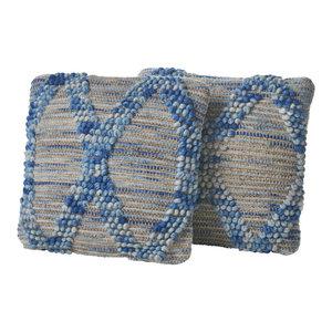 GDF Studio Tiama Gray Blue Hemp and Wool Pillow, Set of 2