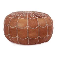 Ikram Design - Moroccan Leather Stuffed Pouf, Dark Tan - Floor Pillows and Poufs