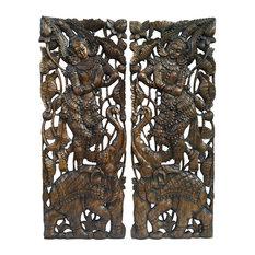 Traditional Sawaddee Thai Carved Wood Panels Figure and Elephant, Set of 2