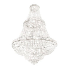 French Empire Crystal Silver Chandelier