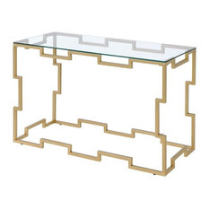 Furniture of America Talliston Glass Top Console Table in Gold