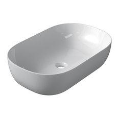 Oval Ceramic Vessel Bathroom Sink, White, 60 cm