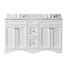 "Talisa Double Bathroom Vanity Cabinet Set No Faucet, 60"", White"