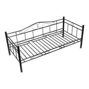 vidaXL Single Day Bed, Metal, Black
