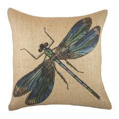TheWatsonShop - Dragonfly Burlap Pillow - Decorative Pillows