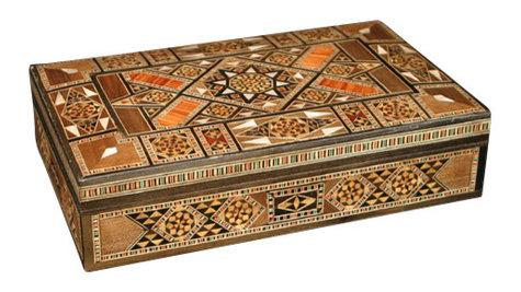Syrian Walnut Mosaic Jewelry Box w Mother of Pearl Inlay