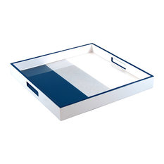 Lacquer Square Tray, Navy Blue, Shine Silver, White