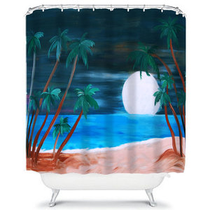 Moonlight Tropical Beach Shower Curtain