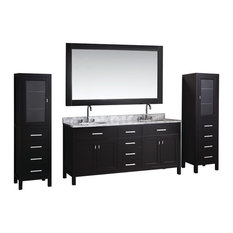 "London 72"" Double Sink Vanity Set With 2 Matching Linen Cabinet, Espresso"