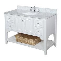 "Washington Bath Vanity, Base: White, 48"", Top: Carrara Marble"