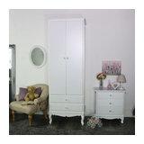 Ornate White Vintage Slim Double Wardrobe - Lila Range