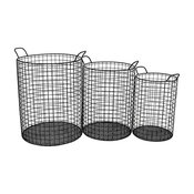 Cheung's Cylindrical Metal Wire Storage Basket Containers, Handles, 3-Piece Set