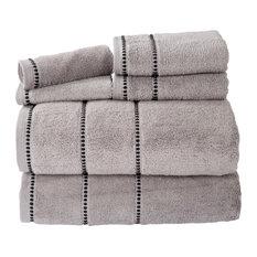 Lavish Home Quick Dry 100% Cotton Zero Twist 6 Piece Towel Set, Silver