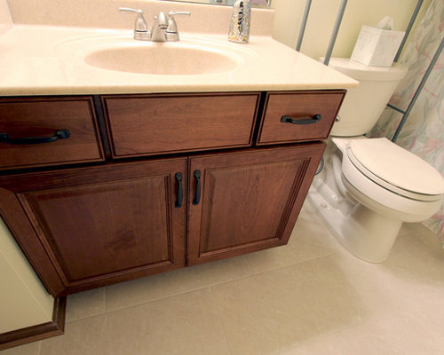 Guest Bathroom Cherry Vanity With Beige Cultured Marble