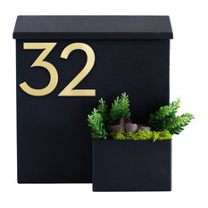 Greetings Wall Mounted Mailbox w/ House Numbers, Black, With Numbers