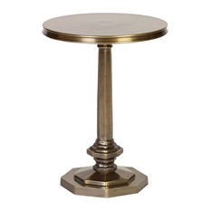 Round Cast Aluminum Accent Table With Octagonal Base In Brass Finish