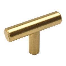 Cosmas   Cosmas 305BB Brushed Brass Cabinet Euro Style T Bar Knob, Set Of 5