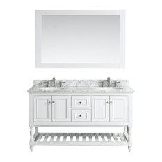 "Silvia Bathroom Vanity Set, White, White Marble Top, 60"""