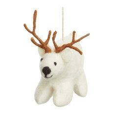 Felt So Good Polar Bear With Antlers Christmas Decoration