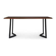 Watkins Solid Mango Wood Dining Table With Inverted Metal Base, Dark Brown