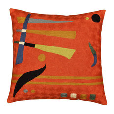"""Kandinsky Deep Orange Red Hand Embroidered Pillow Cover Wool, 18x18"""""""