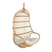 Hanging Rattan Swing Chair With Seat Cushion, Natural