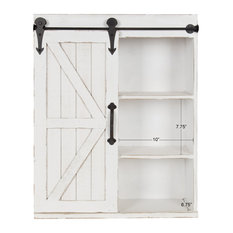 Wood Wall Storage Cabinet With Sliding Barn Door, Rustic White