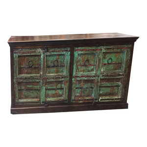 Mogul Interior - Consigned Antique Hand Carved Chest Colonial Green Sideboards TV Console Buffet - Buffets And Sideboards