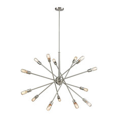 Mid-Century Modern 14 Light Chandelier in Satin Nickel Finish