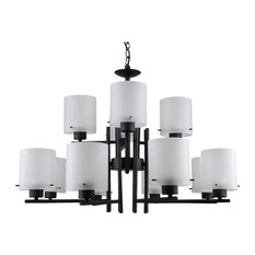 LED 12 Light Chandelier, Black