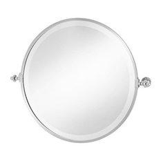 Round Framed Tilt Brass Mirror
