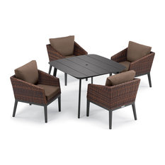 Salino 5-Piece Dining Table Set, Eiland Table, Carbon and Sable, Toast
