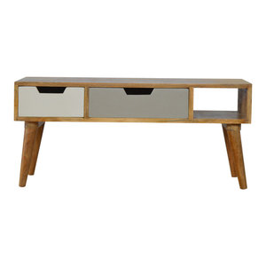 2 Drawer Nordic Media Unit with Painted Drawer Fronts and 1 Shelf