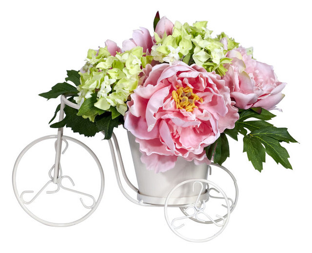 Nearly Natural Peony and Hydrangea Tricycle Silk Flower Arrangement ...