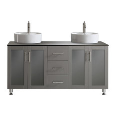 "Tuscany 60"" Double Vanity With White Vessel Sink, Gray"