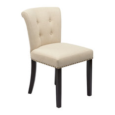 OSP Home Furnishings - Kendall Tufted and Inner Spring Chair With Nailhead Detail, Chocolate Velvet, Li - Dining Chairs