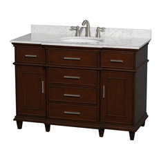 "Wyndham Collection - Wyndham Collection 48"" Berkeley Dark Chestnut Single Vanity, Carrera Marble Top - Bathroom Vanities and Sink Consoles"