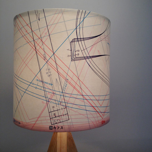 Vintage Industrial Shades with Sewing Patterns - Lamp Shades